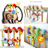 Cute Spiral Activity Stroller Car Seat Cot Lathe Hanging Baby Play Travel Toys Newborn Baby Rattles
