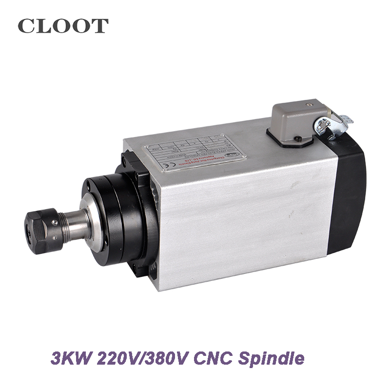 CNC Spindle 3KW Air Cooled Spindle 220V 380V Spindle Motor ER20 Router Tools For Milling Machine new product 220v 2 2kw cnc air cooled spindle motor er16 air cooling 4 bearing