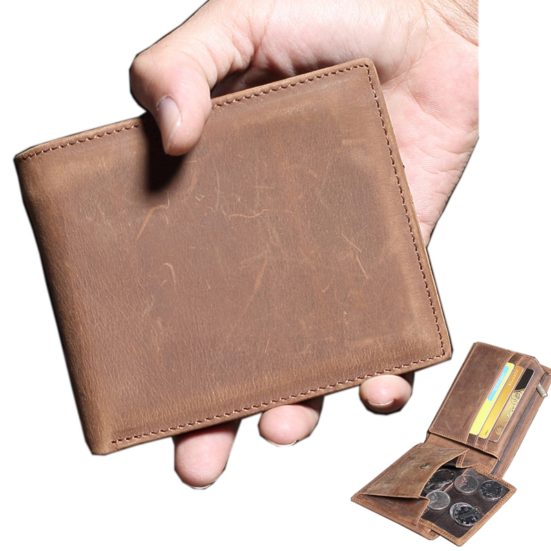 Brand Crazy horse leather men wallets Vintage genuine leather wallet for men top leather card wallet designer's coin purse