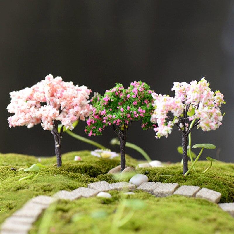 Sale 5cm-7cm 1PC Plastic Mini Sakura Simulation Trees Miniatures   Garden Microlandscape Setting Figurines Home Decor
