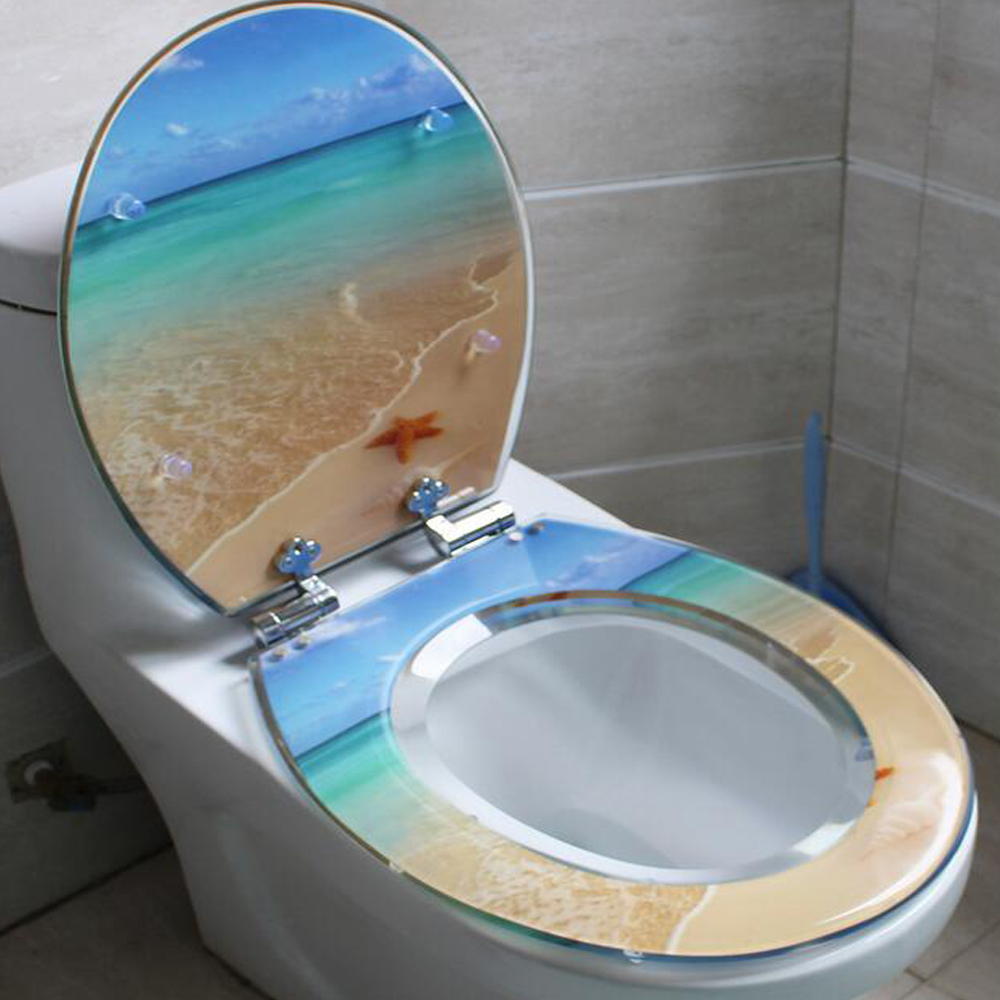 48 38cm High Grade Beautifulb Beach Pattern Resin Toilet Seat Cover