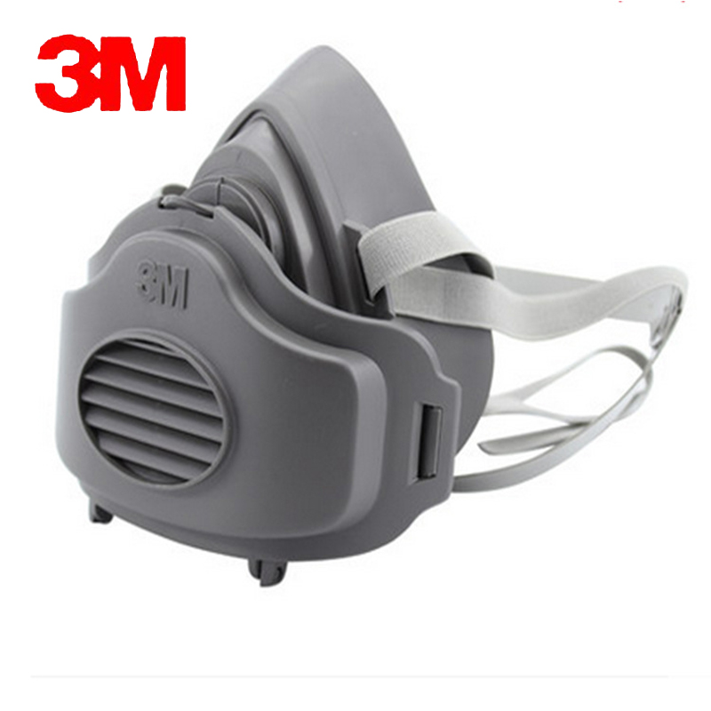 3M 3200+10pc3701CN Filter cotton Half Face GAS Mask Respirator Safety Protective Face Mask Anti Dust  Anti Organic Vapors protective outdoor war game military skull half face shield mask black