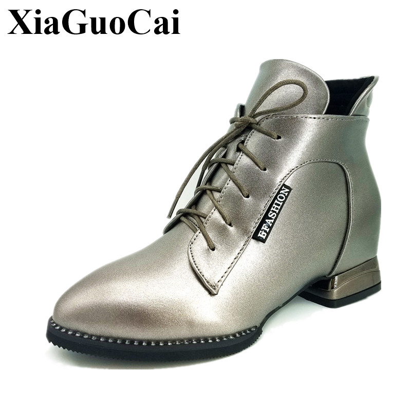 Fashion Shoes Women Boots Pointed Toe Cross Tied Thick Square Heel Low Ankle Boots Autumn Winter Leather Casual Shoes H394 35 berdecia hollow out ankle round toe women boots low square heels cross tied female shoes elegant riding equeatrian women boots