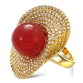 Lovely Rings for girl gold plated with Cubic zircon & imitation pearl Rings new designer fashion jewelry Free shipping