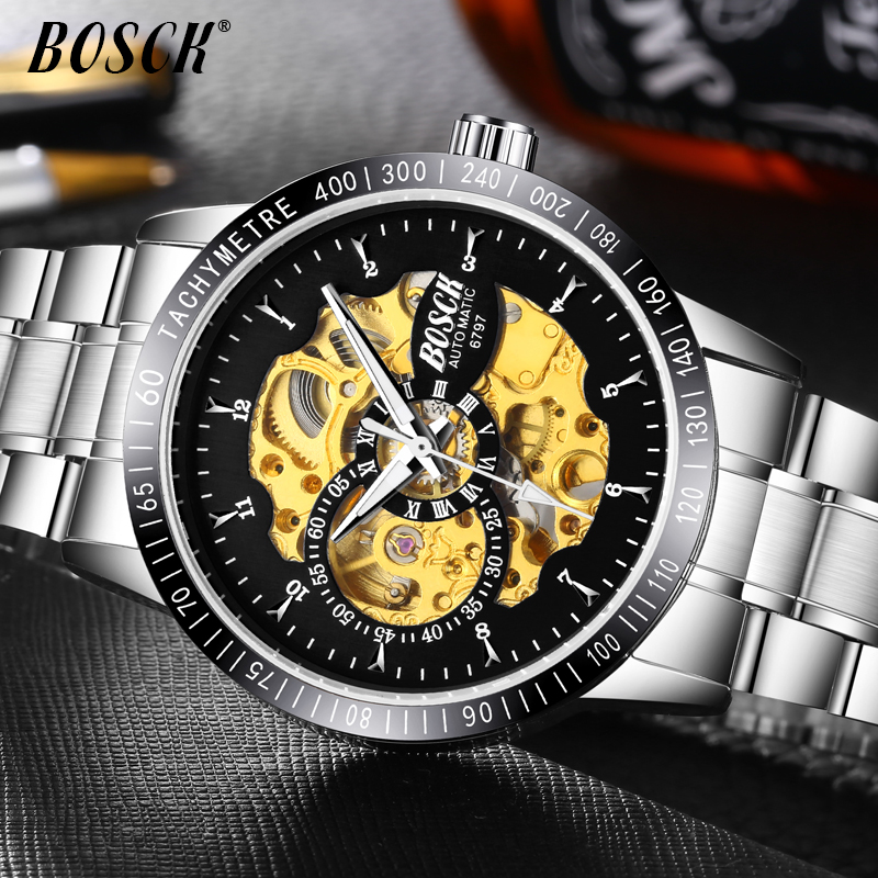 Top Luxury Brand Mechanical Watch Men's Automatic Self wind Wristwatch Stainless Steel Skeleton Fashion Clock Male Steampunk tevise mechanical men watch stainless steel strap automatic self wind wristwatches skeleton fashion casual clock 673s