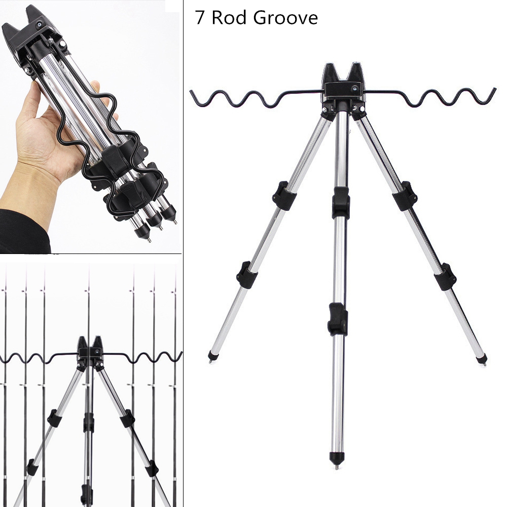 35-62cm Aluminum Alloy Telescopic 7 Groove Fishing Rod Holder Collapsible Tripod Stand Sea Fishing Pole Bracket