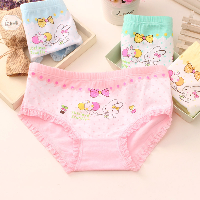 4Pcs/Lot Baby Girls  Rabbit Briefs Panties Cotton Children's Underwear Girls Boxer Shorts HTNN444