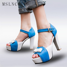 Plus Size 34-43 Women High Heel Sandals sweetly Fashion Bowtie Open Toe Platform Shoes Party Women Thick Heeled Ladies Footwear