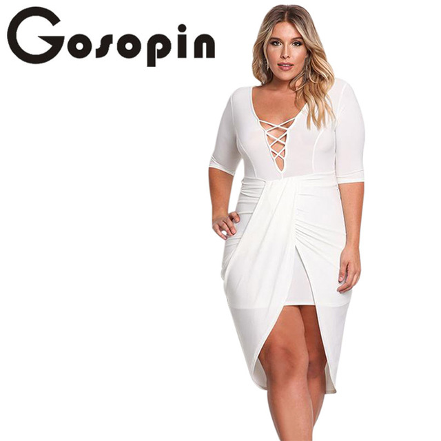 Gosopin Plus Size Bodycon Dress Plunge Cross Strap Black Deep V ...