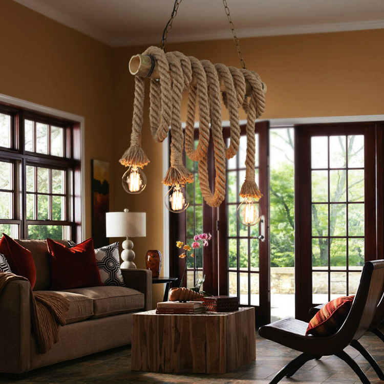 loft american country vintage rope bamboo pendant lights e27 bulbs creative personality retro living room restaurant industrial dining lighting