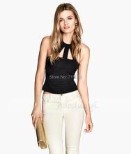 2017 Slim Short Halter-Neck Top Back Metal Zipper Elastic Sexy Sleeveless Small Vest Summer Woman'S Fashion Tops Free Shipping