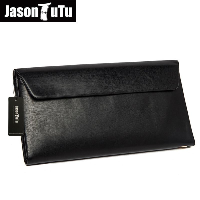 ФОТО JASON TUTU Business Men Genuine Leather Clutch Bag Designer High Quality Men's Handbag Large Capacity Male Solid Wallet HN136