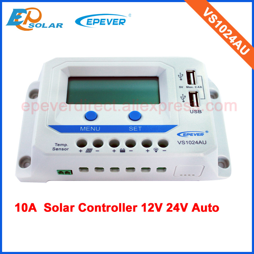 PWM solar panel power regulator 10amp 10A charge Controller VS1024AU lcd display 12v 24v auto work maylar 30a pwm solar panel charge controller 12v 24v auto battery regulator with lcd display