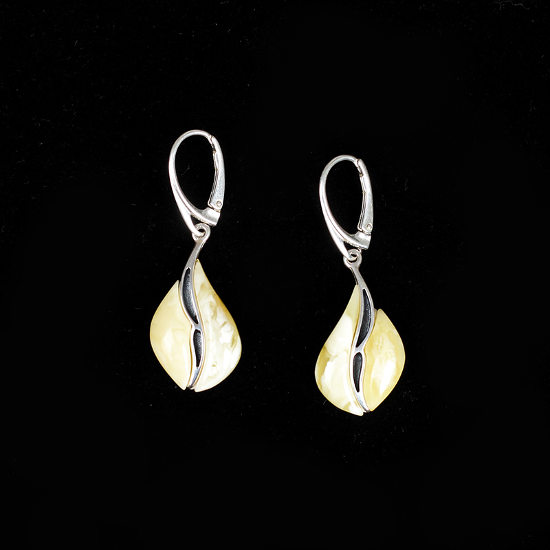 JIUDUO jewelry Genuine luxury White honey earrings 925 sterling silver inlaid earrings Baltic amber beeswax Free shipping genuine natural baltic beeswax earrings amber beeswax pure silver earrings earrings female female 925 silver jewelry de005