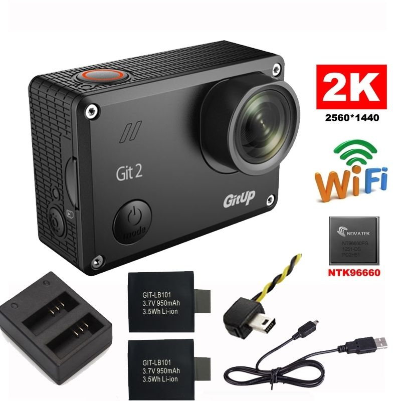 Gitup Git2 Novatek 96660 1080P WiFi 2K Outdoor Sports Action Camera+Extra 950mAh Battery+Dual Charger+FPV Cable gitup git2p novatek 96660 1080p wifi 2k outdoor sports action camera mic remote control extra 1pcs battery battery dul charger