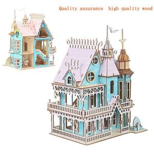 Image 5 - Drewniane lalki meble domowe zabawki DIY montaż domek dla lalek miniaturowy domek dla lalek dla dziewczynek prezenty dla dzieci puzzle zabawki