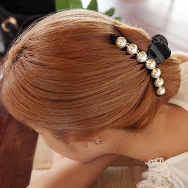Girls Long Hair Accessories Imitation Pearl Hair Barrettes Elegant Ponytail Hair Clip Bangs Clamp for Women Size L M S imersion малый объемный трезубец 267 темный imersion