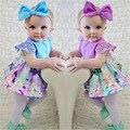 Прекрасный Новорожденный Ребенок Девушки Платья Одежда Лепесток рукав Боди Цветочные Dress + Лук Повязка Фиолетовый Синий Близнецы Сестры Одежда