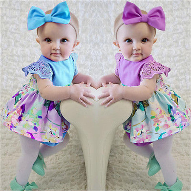 Lovely newborn baby girls dresses clothes petal sleeve bodysuit floral dress bow headband purple blue
