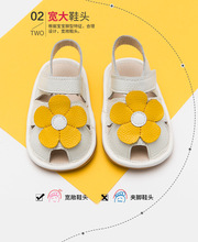 Angelatracy Leather Baby Shoes Floral Summer Flower TPR Soft imitation ox-tendon Sole Cow Muscle Prewalker Toddlers Sandals