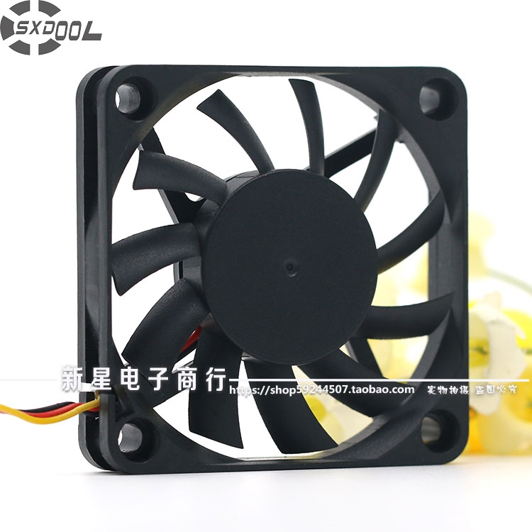 SXDOOL slim cooling fan FD126010LB 12V 6010 60*60*10mm double ball bearing cooler 3-Pin 3800RPM 17.3CFM original delta afb0612vhc 6cm 60mm 6013 6 6 1 3cm 60 60 13mm 12v 0 36a dual ball bearing cooling fan specials