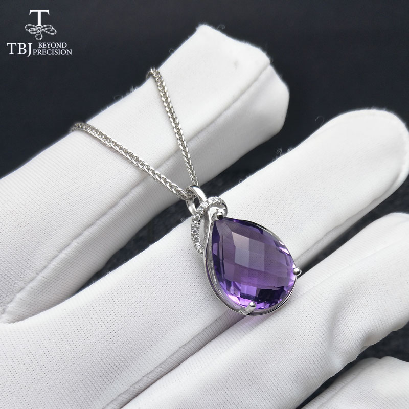 TBJ Natural Brazil Amethyst Top quality pear 12 16mm checkboard cut gemstone pendant with chain necklace