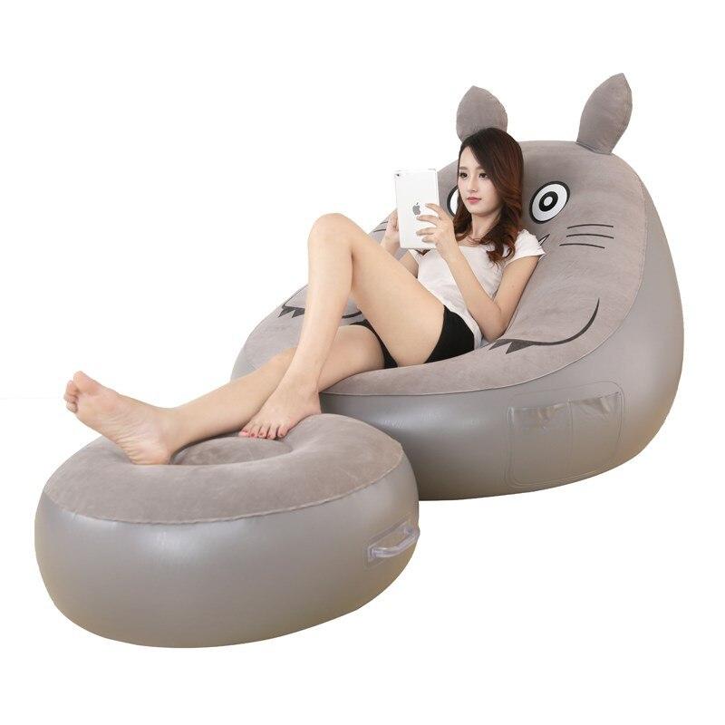 Chaise pliante de sac d'haricot avec le repose-pieds matelas de bande dessinée lit gonflable ensemble de canapé meubles de salon Zitzak livraison gratuite