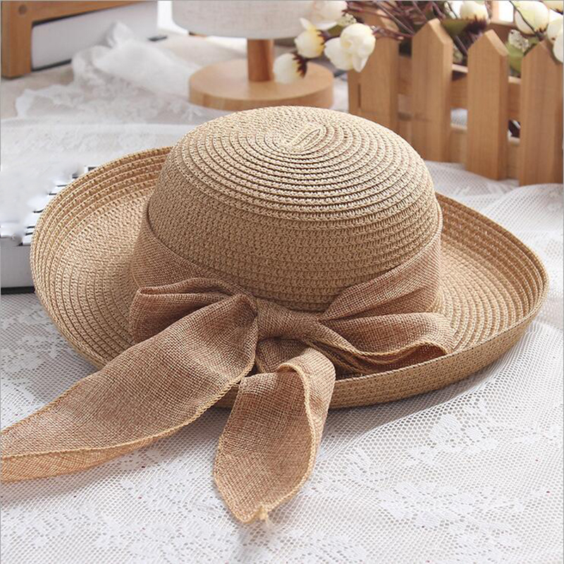BINGYUANHAOXUAN New Fashion Dot Ribbon Hat Foldable Sun Hat For Women Straw Hat Girls Elegant Hat Crimping Cap in Men 39 s Sun Hats from Apparel Accessories