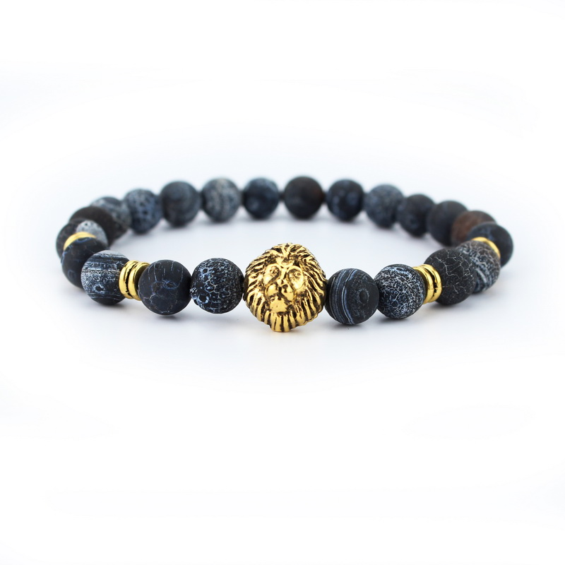 New arrival Tiger Eye Lion Head Bracelet Buddha beads Bracelets Bangles Charm Natural Stone Bracelet Men Jewelry pulseras hombre