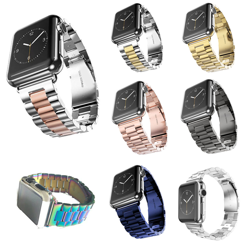 Replacement Stainless Steel Watch Band for Apple Watch Series 1 2 3 Wrist Strap For Apple Watch iWatch 38mm 42mm With Adapters
