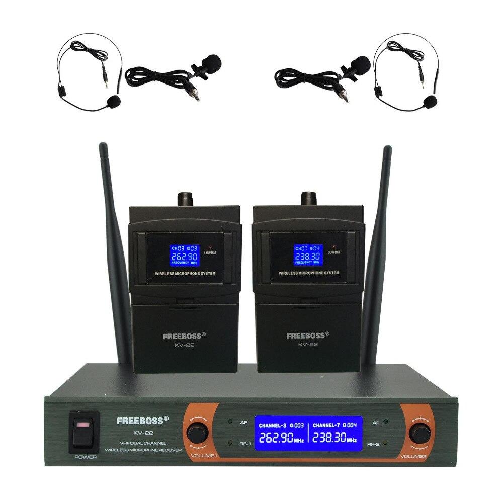KV 22H2 VHF 2 Bodypack Wireless Microphone Family Party 2 Lapel 2 Headset microphone Wireless Karaoke