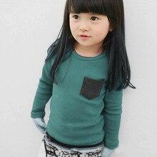 Baby Kids Long Sleeve Crewneck T-shirt Pocket Decor Boy Girl Shirt Clothes 2-7 Y Free Ship