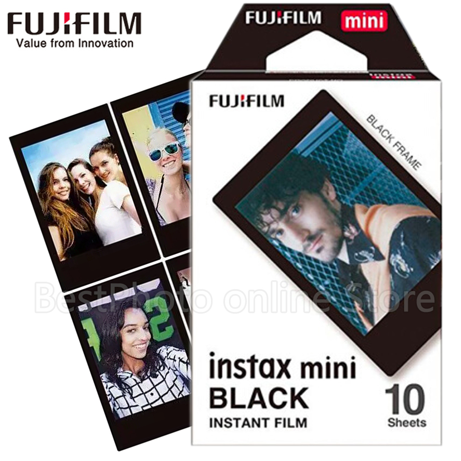 Galleria fotografica 2017 New Fuji Black Frame Fujifilm Instax Mini 8 Film 10 Sheets For 8 50s 7s 90 25 SP-1 SP-2 Mini Camera Photo paper