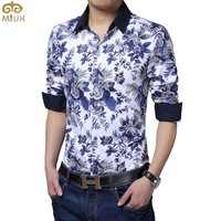 Large Size Floral Printing Men Shirt M 5XL Breathable Long Sleeve England Style Camisas For Men