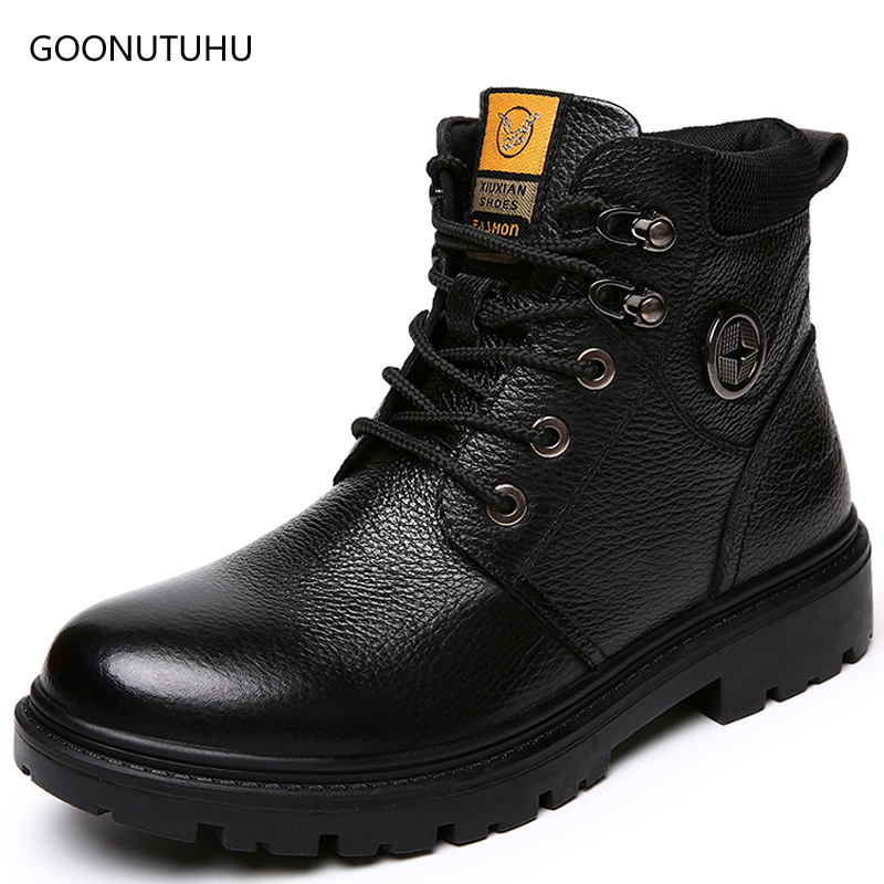 2018 new winter fashion men's boots genuine leather cow army shoes man ankle snow boot work shoe tactical military boots for men