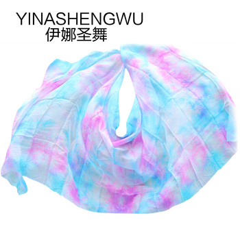 Belly Dance Veils Newest Pure Silk Scarf Practice Stage Performance Color mixing