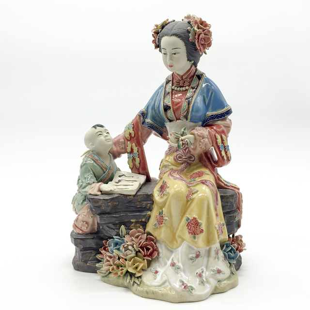 Statue Figurines Ceramic Female Chinese Antique Imitation Figure Sculpture Collectibles Home Decoration Free shipping
