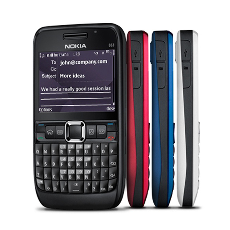 100% Original NOKIA E63 Mobile Phone 3G Wifi Bluetooth QWERTY Keyboard Unlocked E63 RED & One Year Warranty