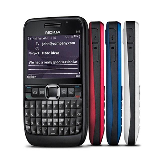 100% الأصلي نوكيا E63 3G مقفلة الهاتف المحمول واي فاي بلوتوث لوحة المفاتيح QWERTY الهاتف المحمول ولوحة المفاتيح العربية الروسية