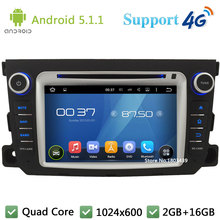 Quad Core 7 «5.1.1 HD1024 * 600 Android Dvd-плеер Автомобиля Радио Стерео 4 Г WIFI GPS Map BT FM Для Mercedes-Benz Smart Fortwo 2011-2014