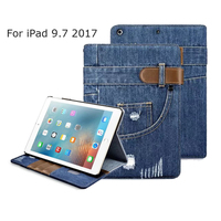 For IPad 2017 New 9 7 Jean Leather Case Wallet Shockproof Protective Stand Skin For Apple