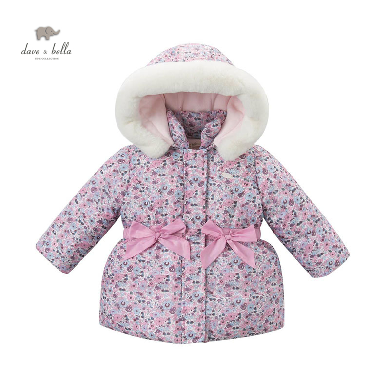 DB3757 dave bella  baby girls cute baby pink coat floral hooded padded coat outerwear