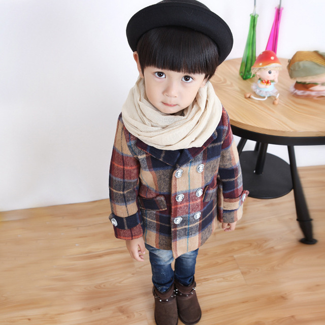 2017 Autumn Toddler Boys Coats Clothes Plaid Kids Jacket Turn-down Collar Long Sleeve Single Breasted Fashion Kids Plaid Coat