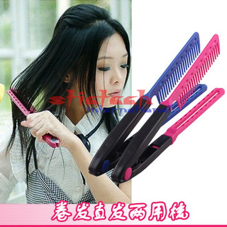 by dhl or ems 200 pcs Practice Training Tangle V Type Hair Straightener Comb DIY Salon