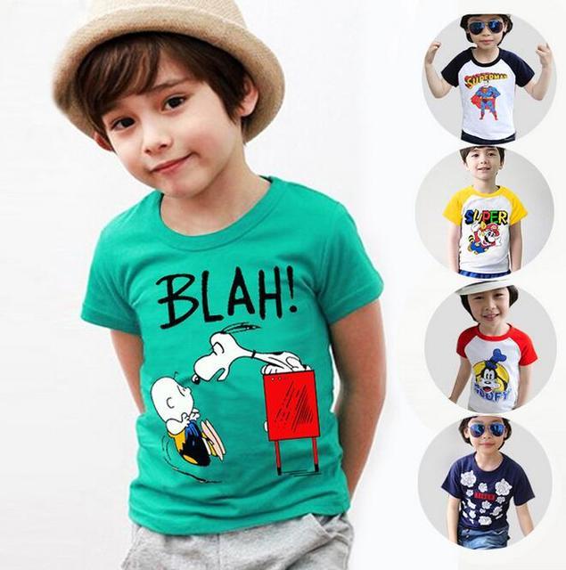 T-shirt Para Os Meninos de verão Respirável Botoming Tops Para Crianças Camisa de Manga Curta Casuais Outerwear Roupas Para O Bebé