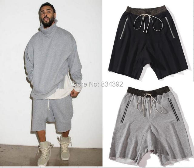 4db4517d7b8d Top quality luxury famous brand FOG FEAR OF GOD black grey shorts justin  bieber kanye west summer men drawstring sweat shorts