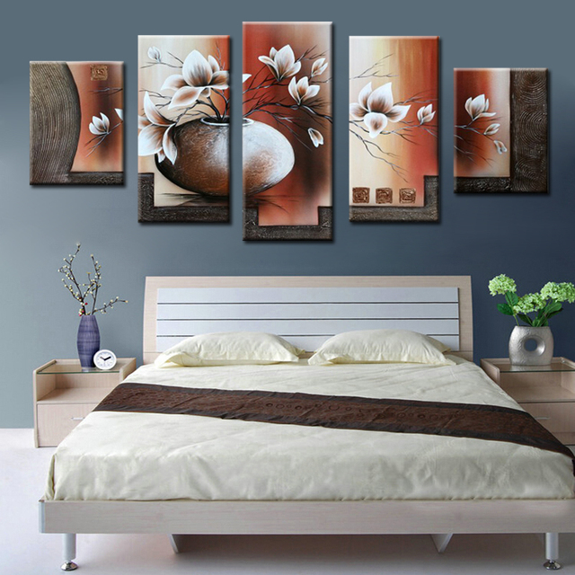 5 Pieces Canvas Painting 100% Handmade Beautiful Flower Oil Painting For Dining  Room Modern Canvas