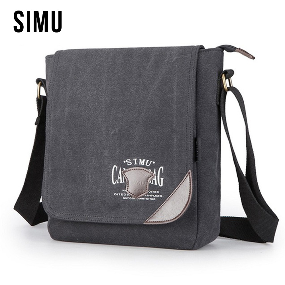 SIMU Canvas Shoulder Bag Crossbody High Quality Bag For Men Travel Bag Vintage Style Casual Outside Travel Bag HQB1888 augur new men crossbody bag male vintage canvas men s shoulder bag military style high quality messenger bag casual travelling