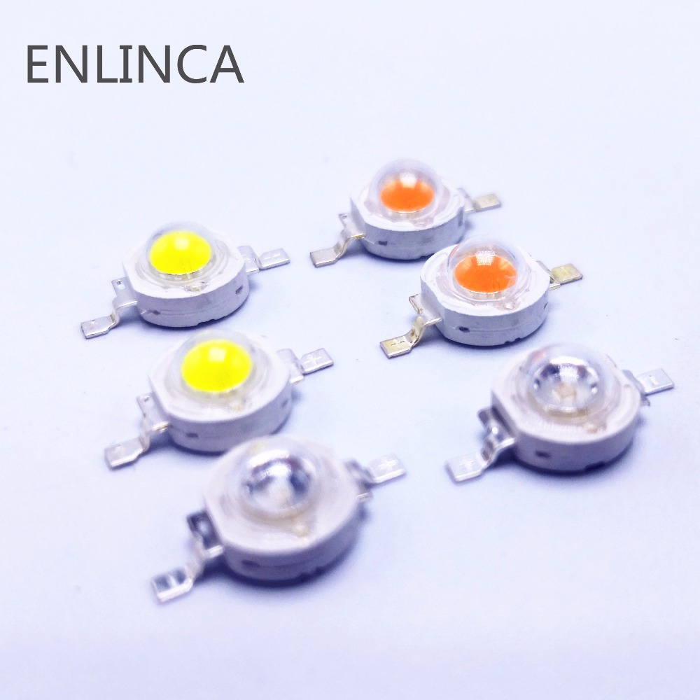 10pcs 1W 3W High Power LED Lamp Bulb Diodes SMD 110-120LM LEDs Chip For 3W - 18W Spot Light Downlight Warm Cold White Green Blue