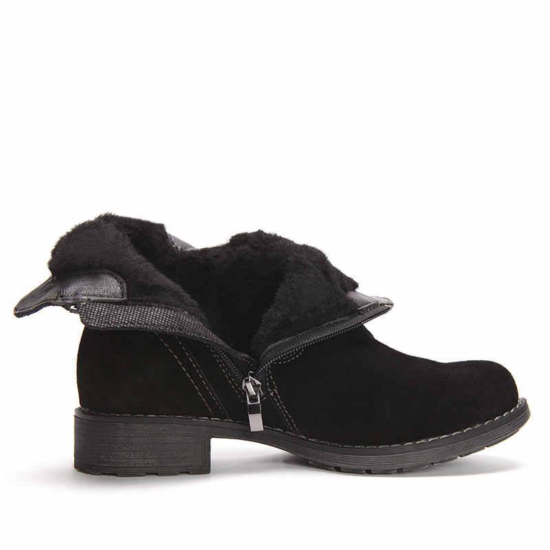 GOGC 100% hakiki deri kadın ayakkabı bayanlar yarım çizmeler kadınlar kare topuk için bayan botları kış için G9819
